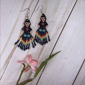 Frida Kahlo Earrings Huichol Litmus Blue